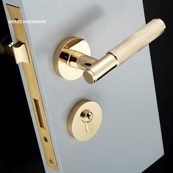 1 комплект рифленая/текстурированная Золотая дверная ручка с замком латунная Механическая прочная ручка для дверей 35-50 мм >> Enmoo HW Store