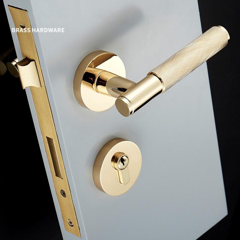 1 poignée de porte en or moleté/texturé avec serrure poignée en laiton mécanique Durable pour portes 35-50mm