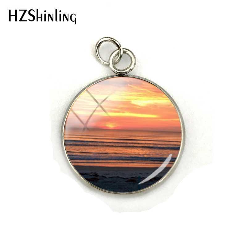 Belleza Sunrise y puesta de sol fotos cristal Domo encantos cabujón hecho a mano collar colgantes joyería regalo para mujeres