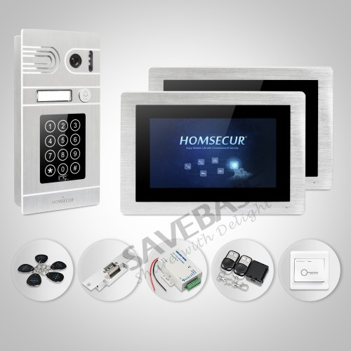 HOMSECUR 7 Wired Hands-free Video Door Entry Security Intercom+Silver Camera+Memory Monitor 1C2M