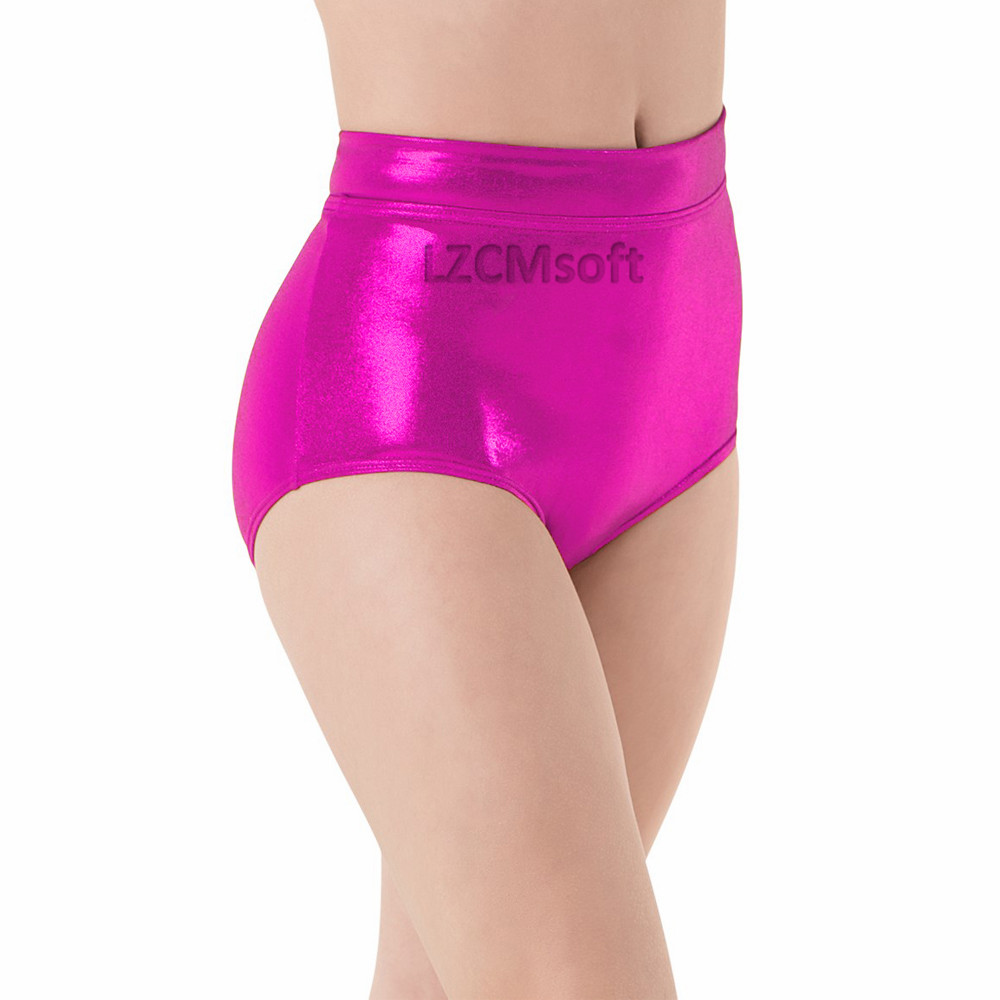 Womens Mid Waist Shiny Metallic Booty Dance Briefs Booty Underpants Girls Stage Performance Shorts Adult Dancer Bottoms