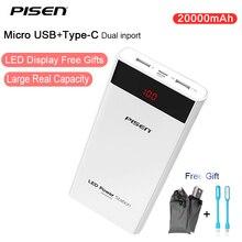 Pisen Универсальный ЖК-дисплей Тип c USB 20000 мАч Запасные Аккумуляторы для телефонов 20000 мАч Мощность Bank 18650 Портативный Зарядное устройство наружный Батарея для Iphone ipad Ми