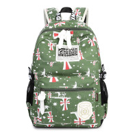 Large Capacity Canvas Text Printing Backpack Bag For Teenager Boys Girls College Multi Function Laptop British