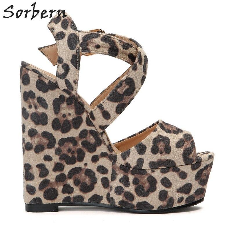 Sorbern с леопардовым принтом Повседневная обувь на танкетке; босоножки на высоком каблуке Для женщин открытым открытый носок, поперечные реме... - 4