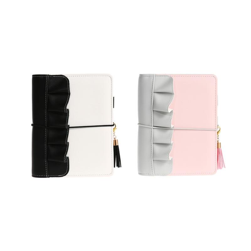 2019 Lovedoki New Arrive Creative  Lotus leaf  Style Pink Blue Ruffle  A6 Binder Note Book DIY Spiral Notebook