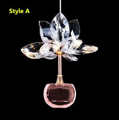Flowers Fashion Crystal Lustre LED Pendant Lights Hanglamp Fixtures For Bar Cafe Living Home Lightings Suspension Luminaire