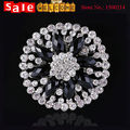Big Large Full Rhinestone Crystal Black Flower Brooch Pin Carve Plant Collar Tip Badge Corsage Bouquet Brooch Wedding Party Gift