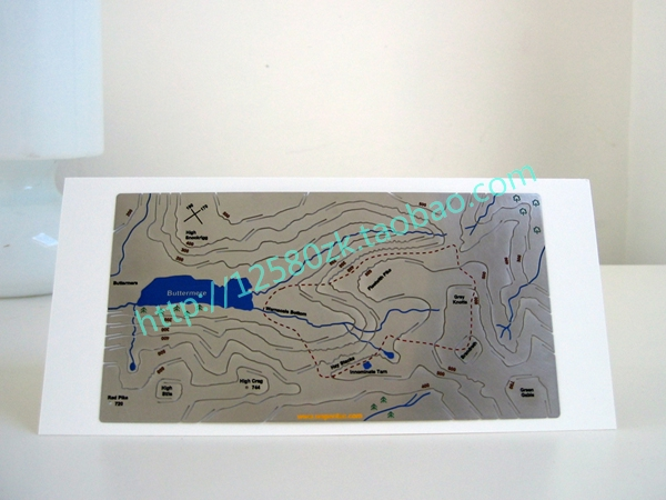 Personalized multicolour geologic map decoration gift stainless steel 3D metal card