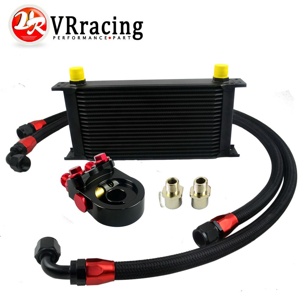 VR - Universal 19ROWS OIL COOLER ENGINE KIT +AN10 oil Sandwich Plate Adapte with Thermostat +2PCS NYLON BRAIDED HOSE LINE BLACK