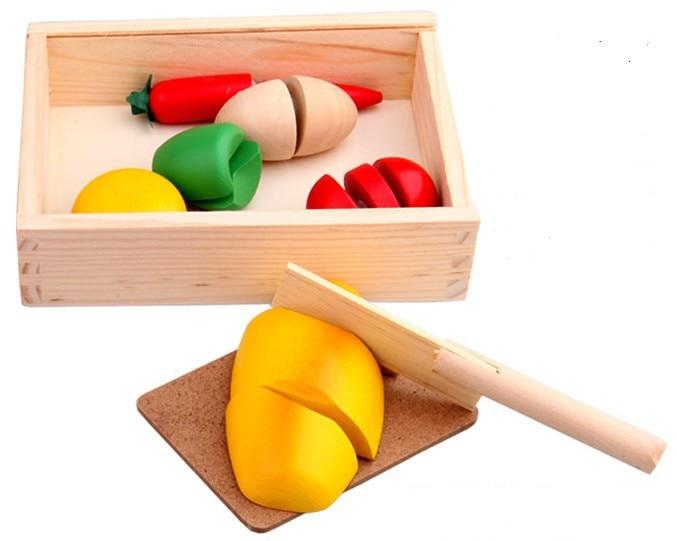 Игрушек! Горячая красочный деревянный игровой дом фрукты и овощи резка счастливо детская игрушка, подарок 1 комплект