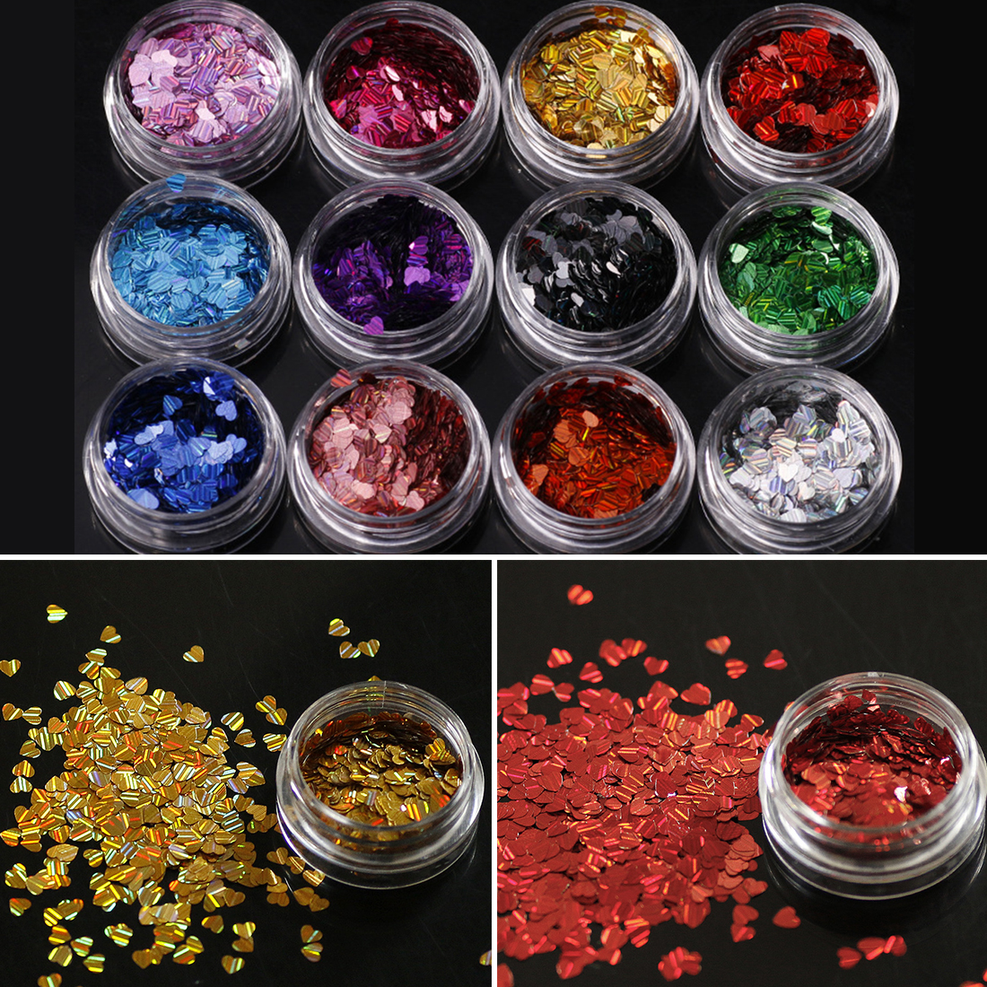 12 Colors Laser Sweet Love Heart Nail Sequins Shinning Paillettes Whinte Black Nail Art Glitter Decor Flakes 3D Valentine Tip