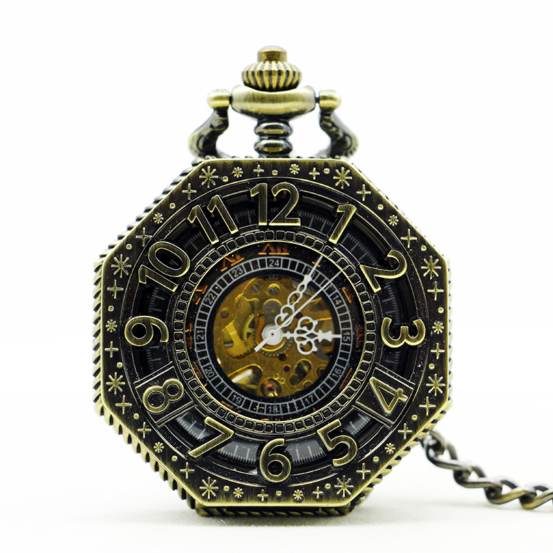 Unique Design Big Dial Hand Wind Mechanical Pocket Watch Arabic Numbers Clamshell Skeleton Watch Gift