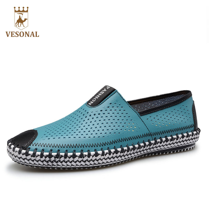 VESONAL Adult Brand Casual Moccasins Male Shoes Men Loafers Genuine Leather Boat Breathable Mesh Drive Soft Walking Man Footwear vesonal winter fur male shoes for men loafers adult business casual brand high quality genuine leather footwear man walking