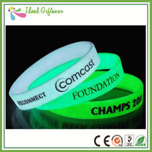 Fluorescent Blue Glow in Dark Silicon Wristband Bracelet(China)