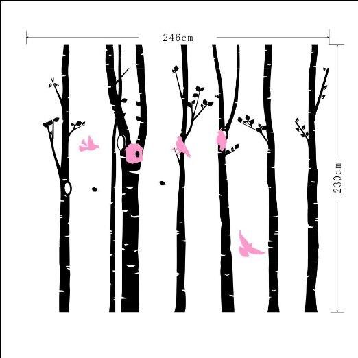246*230 настенные декорации с изображением лесных птиц DIY художественная Настенная Наклейка для детской комнаты гостиная спальня ТВ фон обои ... - 4