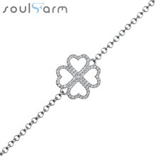 925 Sterling Silver Jewerlry Fashion Four Clover Heart Bracelet & Bangles White Gold Plated Charm Bracelets Fine Jewelry 2016