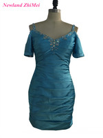 New Fashion Sheath Mini Cocktail Dress Charming V Neck Beaded Satin Party Gowns With Short Sleeves