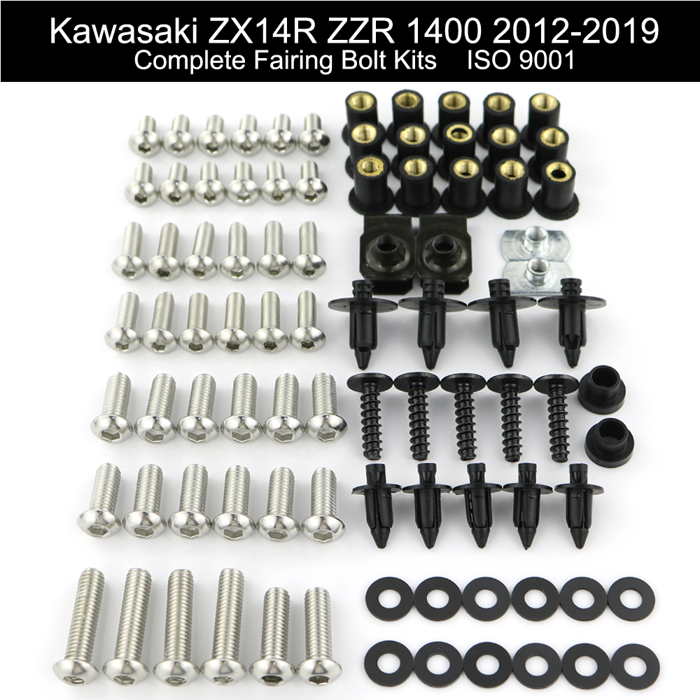 For Kawasaki ZX14R ZZR 1400 2012-2019 Motorcycle Complete Full Fairing Bolts Kit Speed Nut Covering Screws Clips Stainless Steel