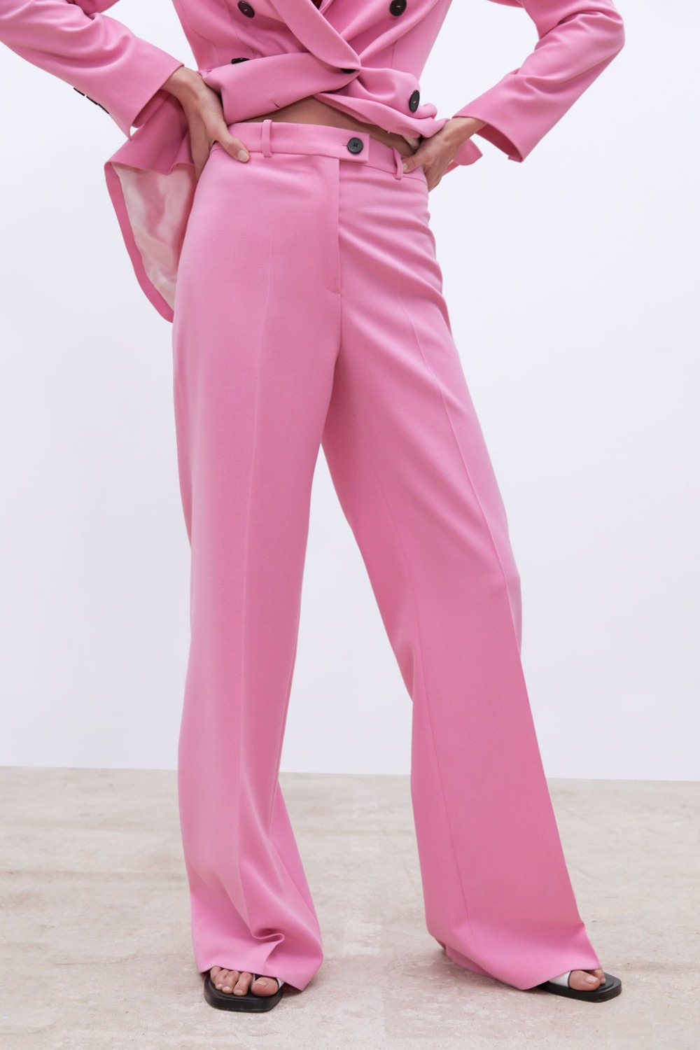 Image 3 - 2019 New Spring BF style Double breasted Button Women Pink Blazer High Waist Small Straight Pants Long Sleeve Suits 2 Pieces SetWomens Sets   -