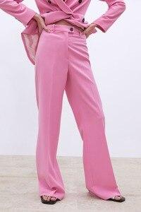Image 3 - 2019 Yeni Bahar BF tarzı Kruvaze Düğme Kadınlar Pembe Blazer Yüksek Bel Küçük Düz Pantolon Uzun Kollu Takım Elbise 2 Adet seti
