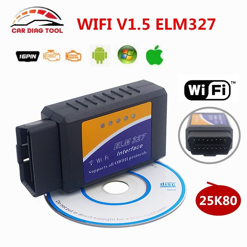 Prix pour Super V1.5 WIFI ELM327 Sans Fil OBD2 Auto Scanner ELM327 25K80 puces pour iphone ipad ios android windows système elm 327 WiFi