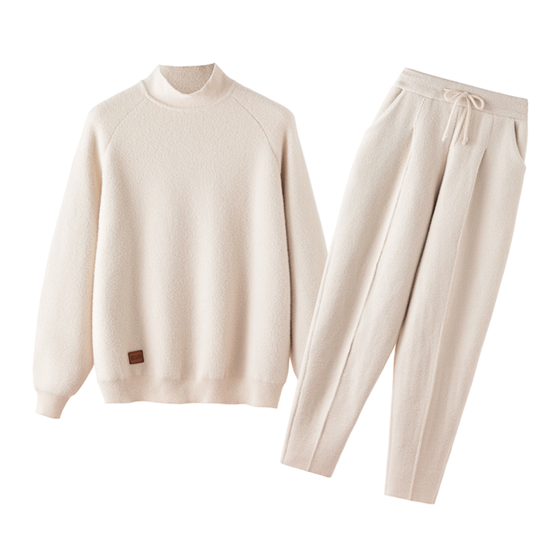 High Quality Double-faced Cashmere Women's Autumn And Winter Wear Korean Fashion Casual Two-piece Harem Pants Knit Suit JQ439