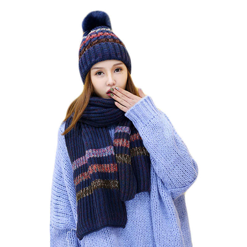 5c0f595e2 New Fashion Women Winter Warm Hat Scarf Set Plush Pom Pom Hat and Scarf Two  Pieces Female Girls Long Knit Stripe Scarf Caps Sets
