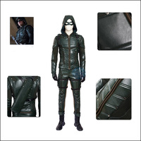 100 Real Green Arrow Costume Cosplay Leather Set With Mask Halloween Costumes Superhero Oliver Queen Green