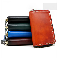 Women Men Vegetable Tanned Leather Key Wallet Interior Keys Chain Holder Bag Clutch Purse Short Wallets Holders Purses