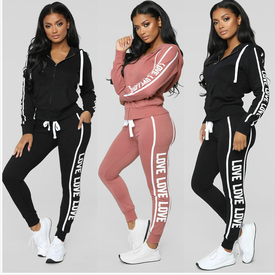 Zogaa Womens Two Piece Sets 2018 Casual Tops And Pants Set Female Sweatsuit Zipper Printed Black/Pink 2 Piece Tracksuit Women