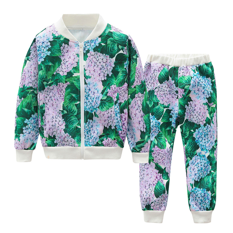 Spring Kids Boys Girls Clothing Sets Baby Floral Print Jacket+Pant Clothes Suits Toddle Long Sleeve Children Casual Costume 2pcs christmas kid baby boys girls clothing set deer pyjamas nightwear sleepwear long sleeve t shirt pant 2pcs xmas clothing