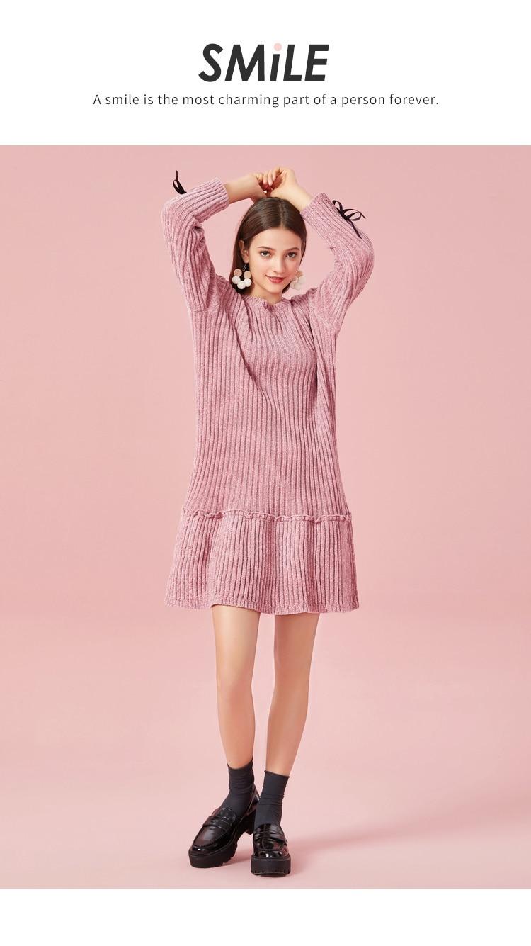 SEMIR Women Rib-Knit Flared Sweater Dress in Soft Chenille Yarn with Ties at Cuff Ribbing at Crewneck Long-sleeved Knit Dress 35