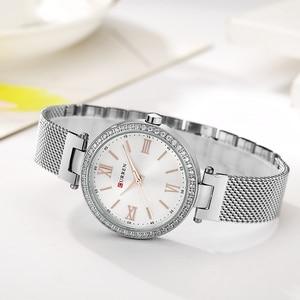 Image 4 - Mode Marke CURREN Kristall Design Quarz Damen Armbanduhren Edelstahl Mesh Band Casual Frauen Uhr Damen Uhren Geschenk