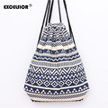 EXCELSIOR Hot National Striped Wave Printed Canvas Backpack Women's Backpack Drawstring Sackpack Bag Causal Ladies Travel Bag