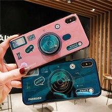 Lanyard Blue Ray 3D Camera Phone Case For Huawei Nova 2s 2i 2 plus 3 3i 4 Cover for Y5 Y6 Y7 Y9 2018 Prime Pro Kickstand Funda