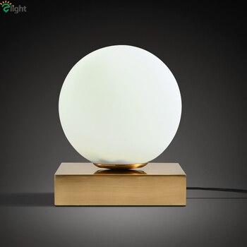 Nordic Matglas Ball Messing Metalen Led Tafellamp Minimalisme Slaapkamer Studeerkamer Lezen Verlichting Led Bureaulamp