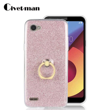 купить Phone Case For LG Q6 Q 6 Alpha Q6 Plus Q6a M700 5.5 TPU Transparent Shell Flash Glitter Powder with Finger Ring For LG Q6 Cover дешево