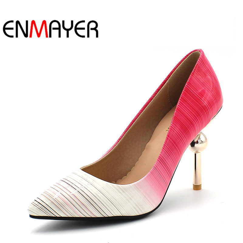 ENMAYER Summer Plus SizeWomen Pumps High Heels Stilleto Pointed Toe Slip-On Sexy Shoes Women Slip-On Party Platform Purple Shoes stylish colorful love heart pattern flax pillow case(without pillow inner)