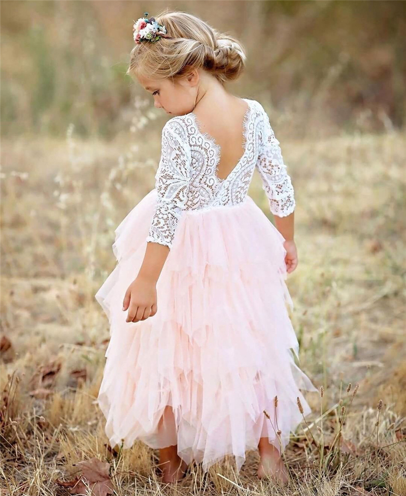 Backless Lace Dress Girl Long Sleeves Christening Gowns Layers Tulle Cake Wedding Party Princess tutu Dresses Girls Clothes pink lace details backless off the shoulder long sleeves mini dress