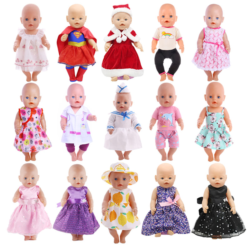 Doll Clothes 15 Styles Handmade Clothes Dress Fit 18 Inch American Doll & 43 Cm Born Doll For Generation Girl`s Toy Accessories
