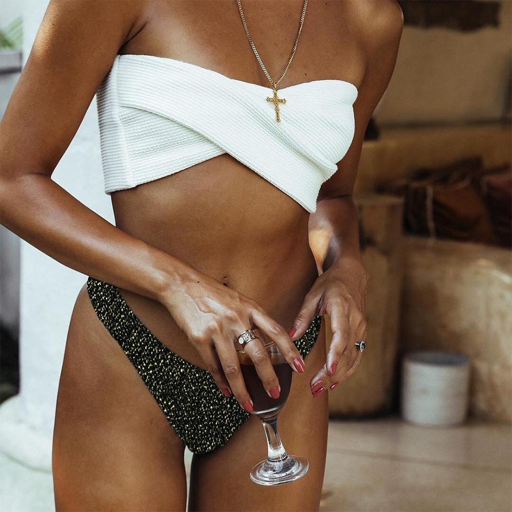 Women Glitter Reflective <font><b>Bikini</b></font> <font><b>Sexy</b></font> <font><b>G</b></font> <font><b>String</b></font> White Swimsuits <font><b>Extreme</b></font> <font><b>Micro</b></font> <font><b>Mini</b></font> <font><b>Bikini</b></font> Set High Cut Shiny Swimwear 2019 image