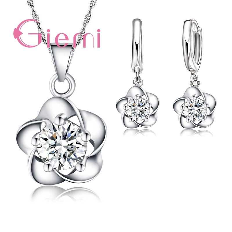 בסדר נשים מתנת סט יפה פרח עם CZ זירקון טהור 925 סטרלינג כסף שרשרת עגילי מסיבת חתונה תכשיטים עבור כלות