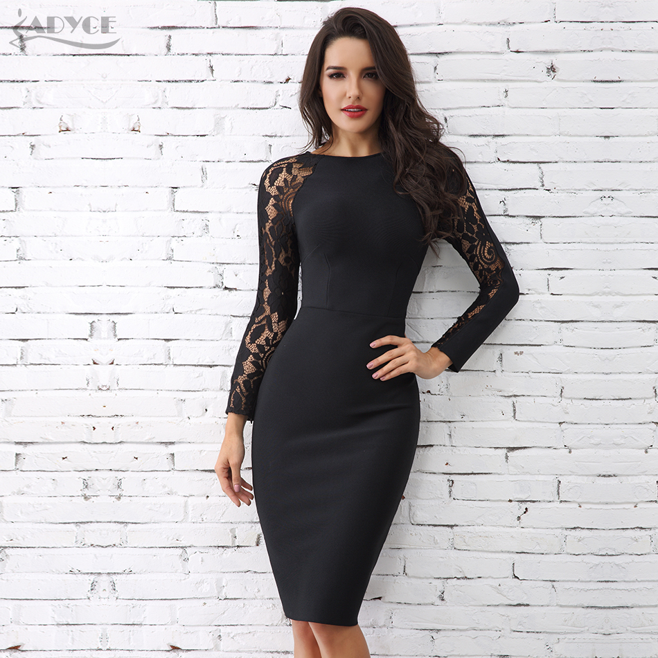 Adyce 2019 New Women Black Bodycon Long Sleeve Bandage Dress Sexy Lace Hollow Out Midi Club