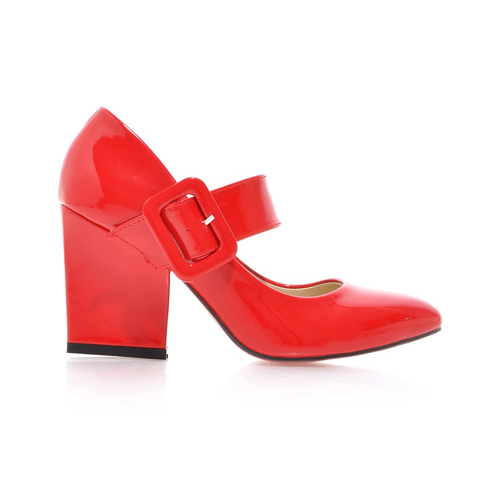 2019 High Heels Shoes Women Mary Janes Shoes Thick High Heel Pumps Autumn Fall Footwear Red Black White Apricot Big Size 34 43 in Women 39 s Pumps from Shoes