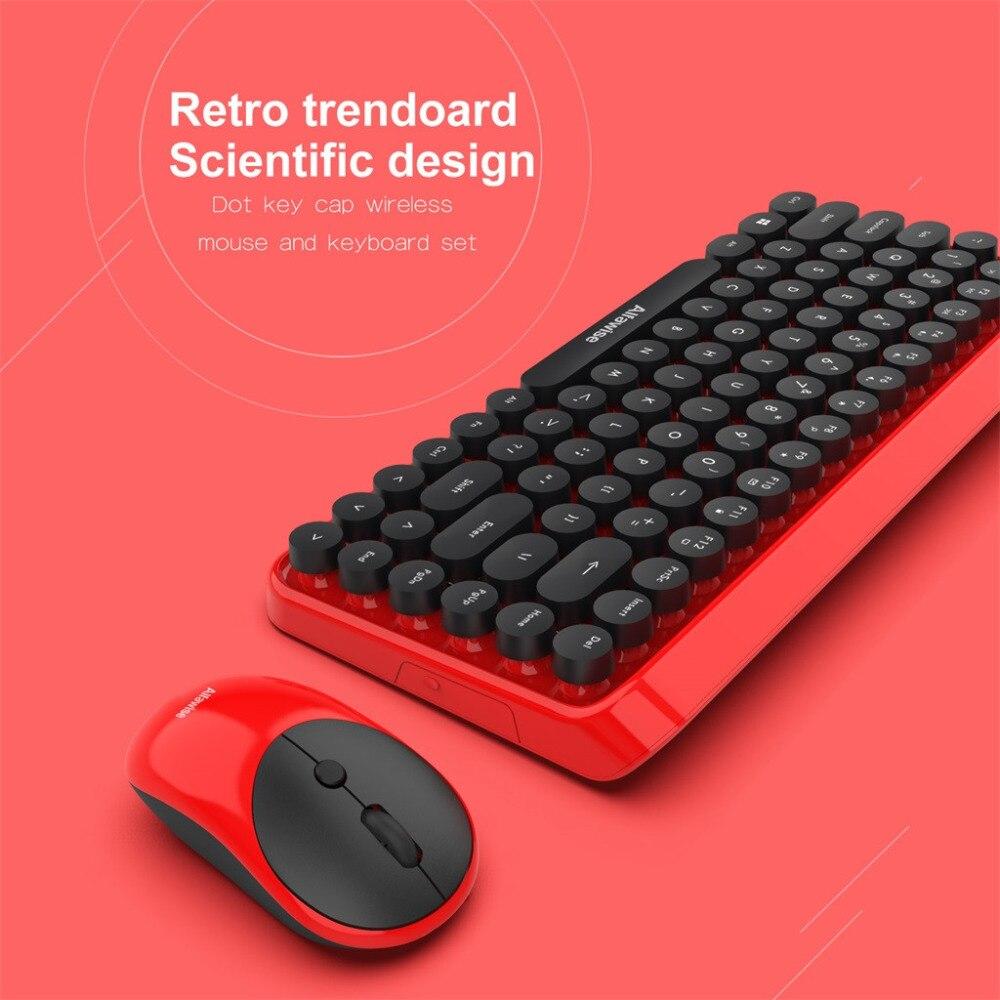 Mode chocolat keycap étanche 2 en 1 rétro Keycap Style 84 touches sans fil clavier + souris pour jeux de bureau rapidement contrôler - 5