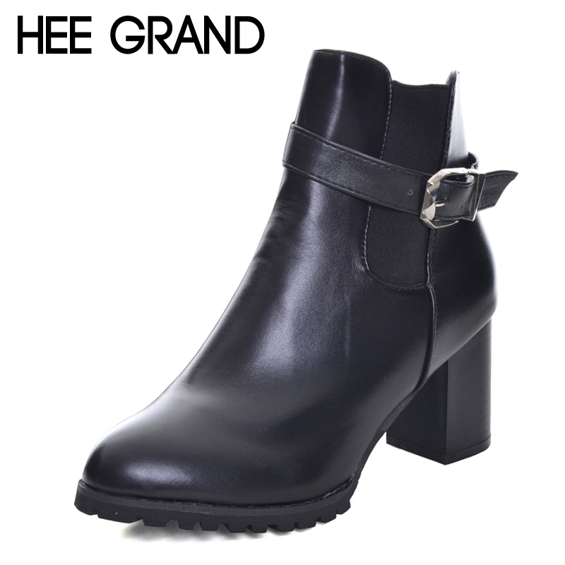 HEE GRAND Zipper Women Ankle Boots Casual Platform Sexy Shoes Woman Buckle High Heels Winter Women Shoes Size 35-40 XWX6008 стоимость