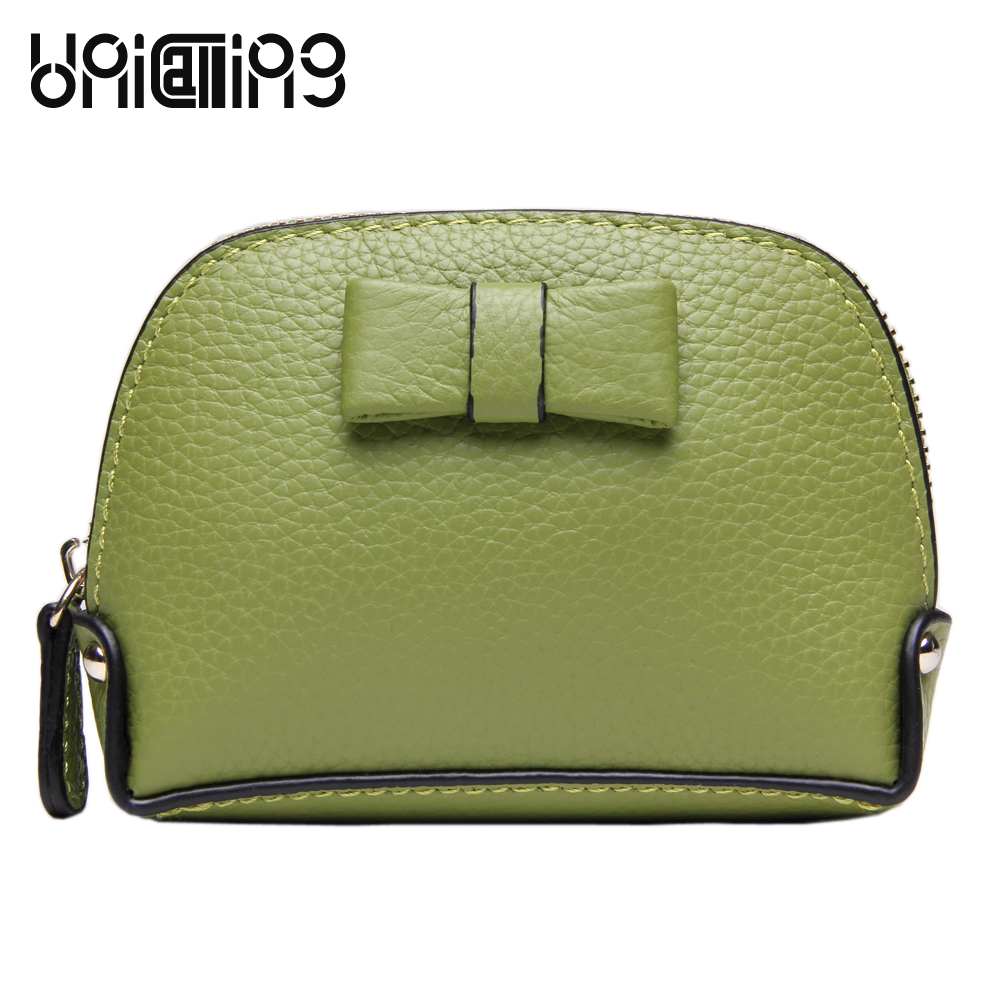Coin purse women fashion candy color cute coin quality genuine leather wallet mini bow shell keys holder bag