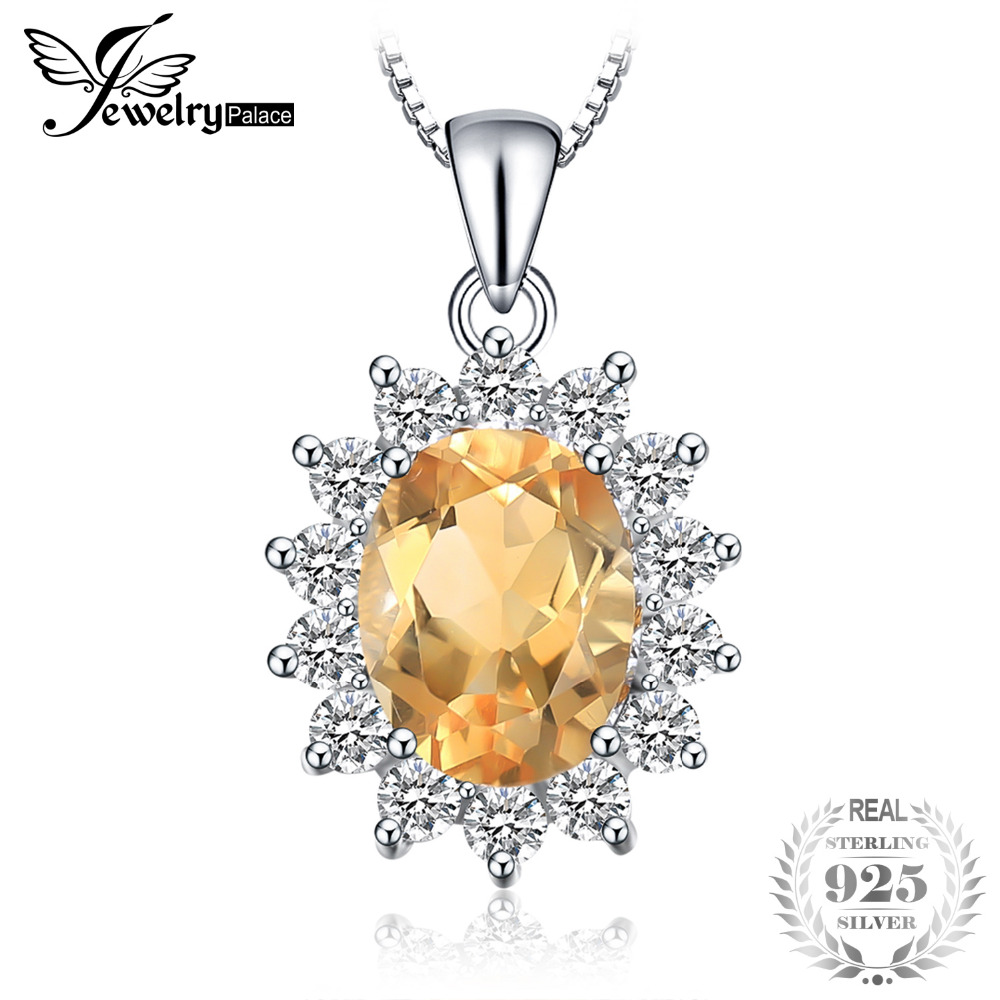 JewelryPalace Princess Diana 1.8ct Natural Citrine Pendant 925 Sterling Silver Pendants Necklaces Jewelry Not Include A ChainJewelryPalace Princess Diana 1.8ct Natural Citrine Pendant 925 Sterling Silver Pendants Necklaces Jewelry Not Include A Chain