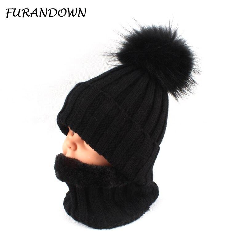Niños niños niñas cálido forro de lana Beanie sombrero con la bufanda de piel de invierno sombreros para niños bebé pompón sombrero