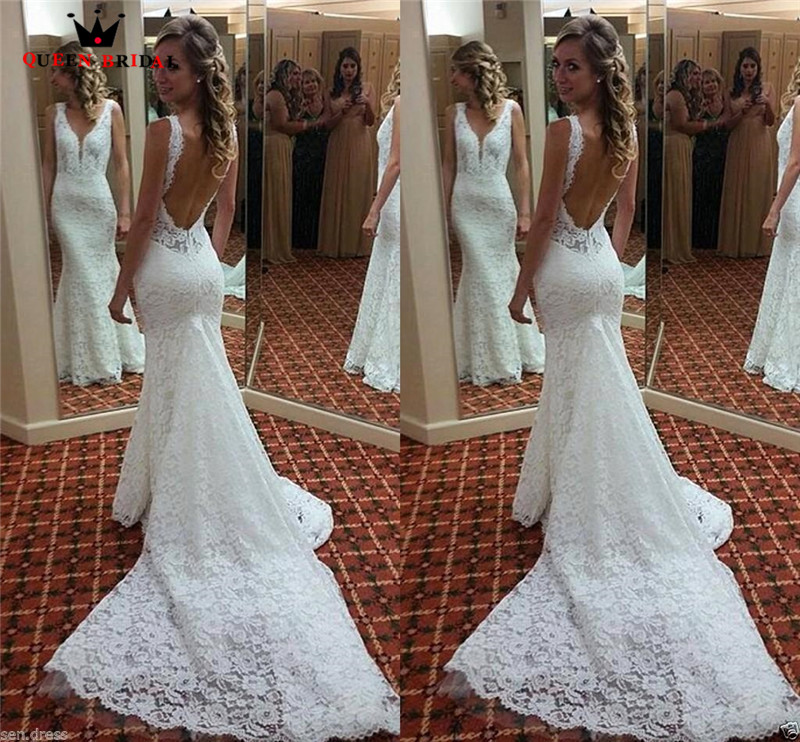 Mermaid V neck Open Back Lace Long Train Sexy Vintage Formal Wedding Dresses 2018 Fashion Wedding Gowns Custom Made YB04